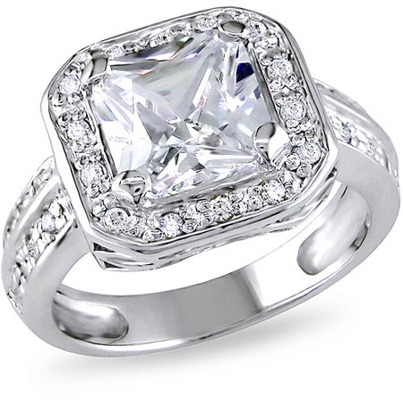 miabella 5 35 carat tgw cubic zirconia engagement ring in sterling silver - Cubic Zirconia Wedding Rings