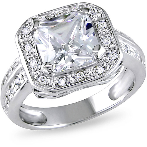 5-3/5 Carat T.G.W. Cubic Zirconia Engagement Ring in Sterling Silver