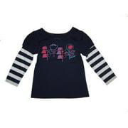 Little Girls Navy Floral Print Layered Sleeves T-Shirt 4-6X