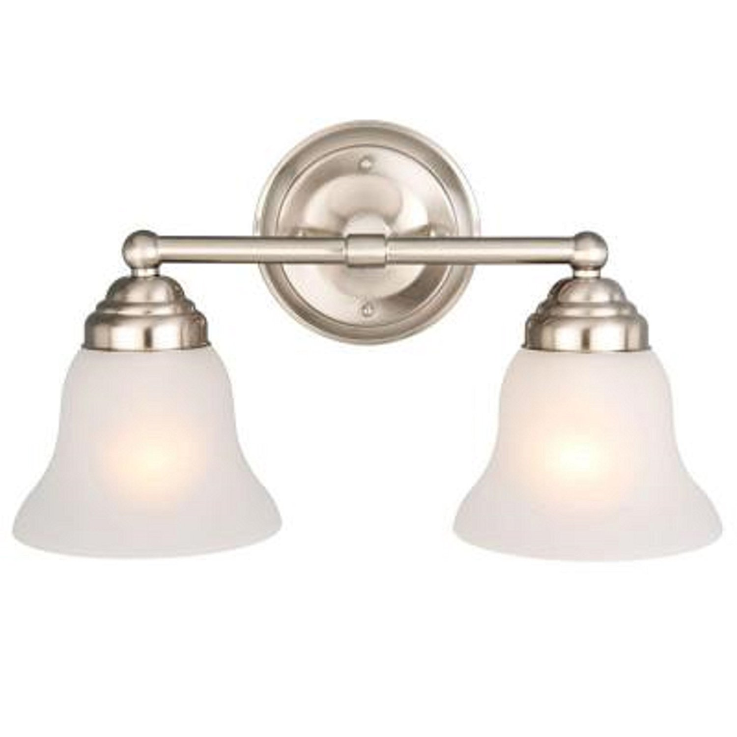 2-light Brushed Nickel Vanity, Durable steel construction By Hampton Bay by