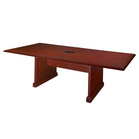 """Prestige 120"""" Rectangular Conference Table with Power Data Grommet, Mahogany"""