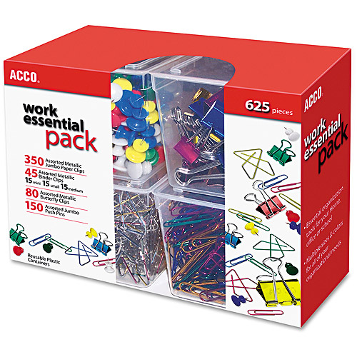 ACCO Club Clip Pack, 80 Ideal, 45 Binder, 350 Jumbo Paper Clips, 150 Push Pins