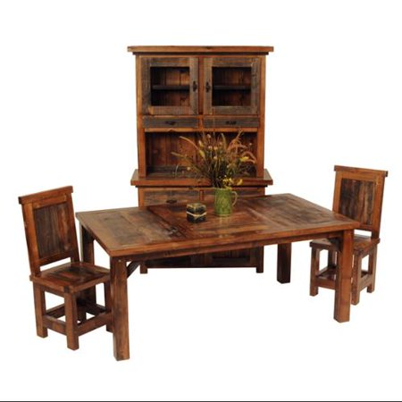 Distinctive Mountain Woods Rustic Wood Dining Table Set Wood Chair  Recommended Item