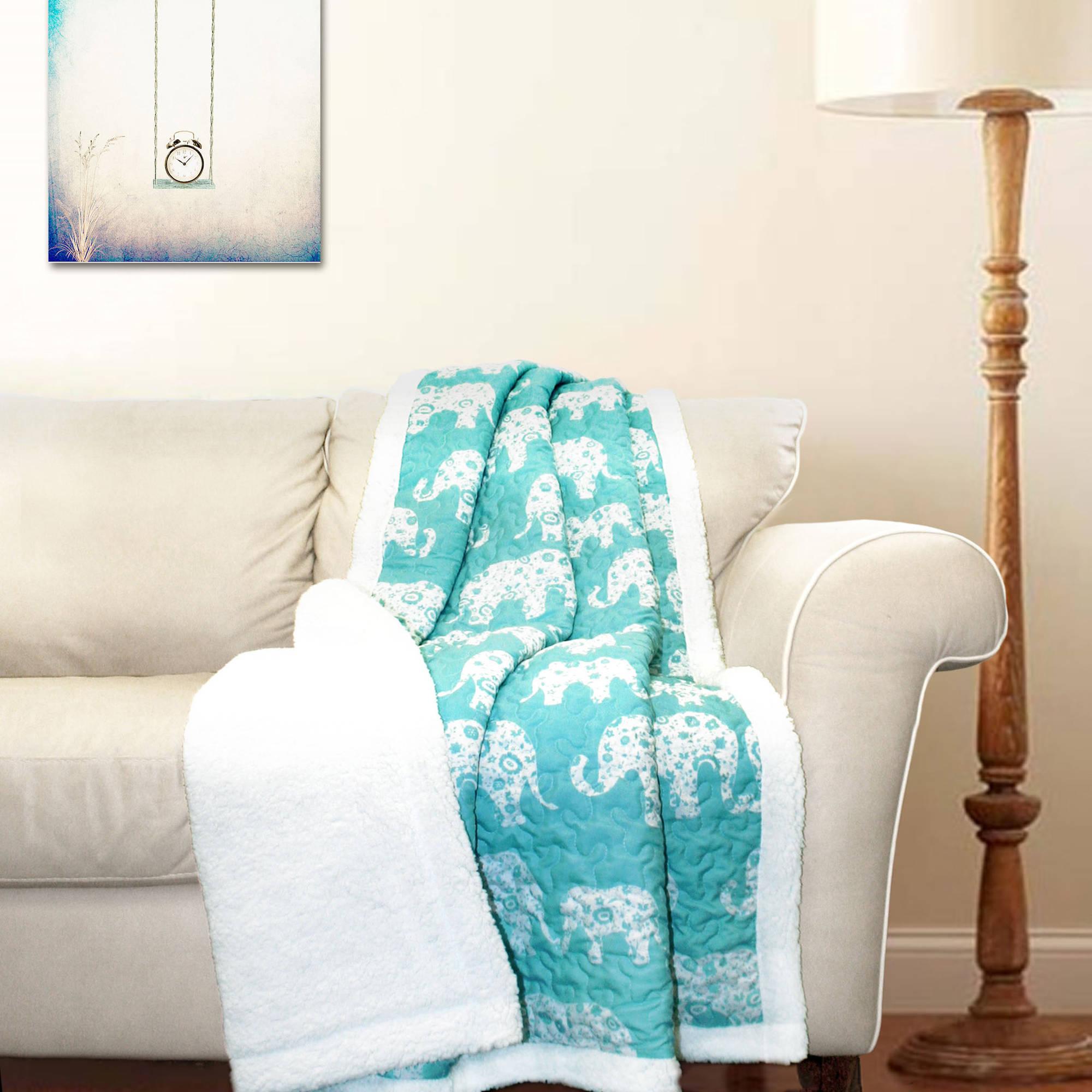 Elephant Parade Sherpa Throw Blanket, Aqua