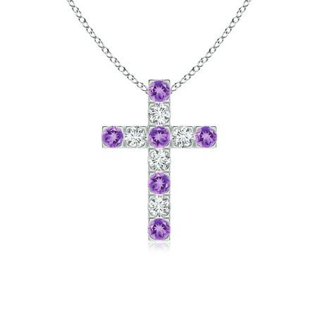 Flat Prong-Set Amethyst and Diamond Cross Pendant in 14K White Gold (2.5mm Amethyst) - SP0120AMD-WG-A-2.5