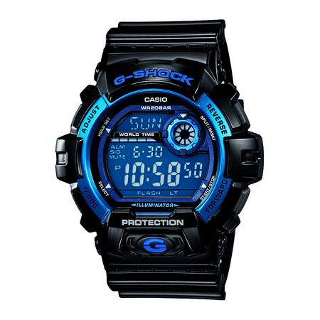 Casio Men's G-Shock Digital Quartz 200M WR Shock Resistant Watch Color: Black with Blue accents (G-8900A-1) G-shock 200m World Time Watch