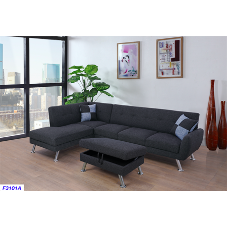 Sectional Sofa_AYCP Furniture_Black/Grey Linen Sectional Sofa with Storage Ottoman, Left Hand Facing Chaise, 2 checked toss pillows, Slanted Chrome Plated Leg Chrome Sectional Sofa