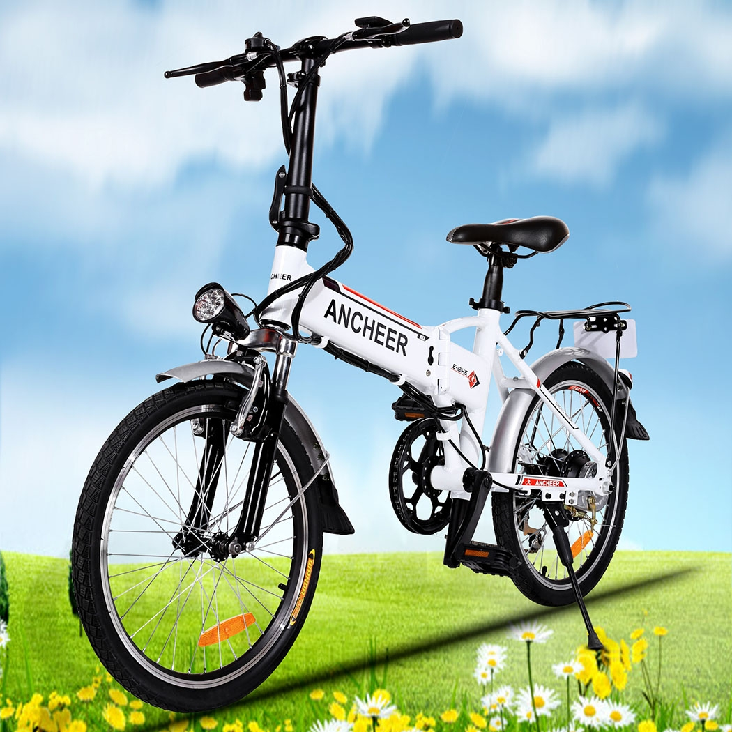 Ancheer Adjustable Foldable Mountain Bike Electric Bike Power Bicycle with Removable Lithium-Ion Battery, Battery Charger