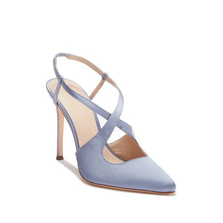 Satin Bow High Heel Sandal - Pour La Victoire Cerry Pointed Toe Satin Slingback High-Heel Pumps, Periwinkle (5.5)