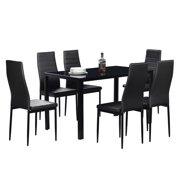 Zimtown New Modern 7 Pcs Dining Table Set With 6 Leather Chairs Kitchen Room Furniture