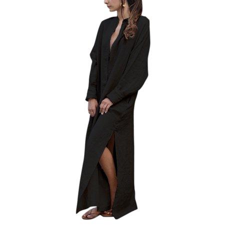 4d5f154e4c5 HIMONE - Plus Kaftan Dresses Women Casual Long Sleeve Maxi Tunic Shirt  Dress Oversized Linen Baggy V Neck Split Vintage Caftan - Walmart.com