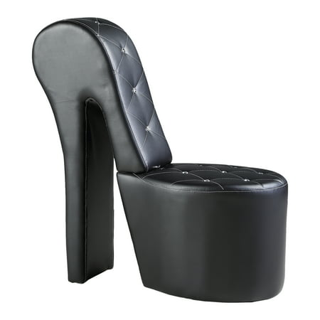 Best Master Furniture's High Heel Faux Leather Shoe Chair with Crystal Studs, Multiple Colors Available (High Heel Shoes Chair)