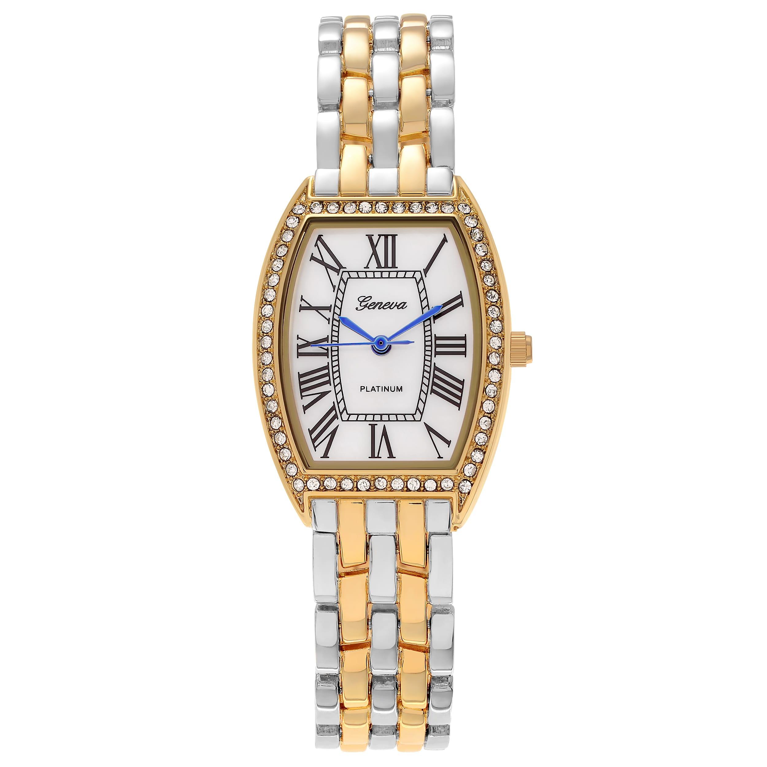Geneva Platinum  Women's Rhinestone Rectangle Link Watch