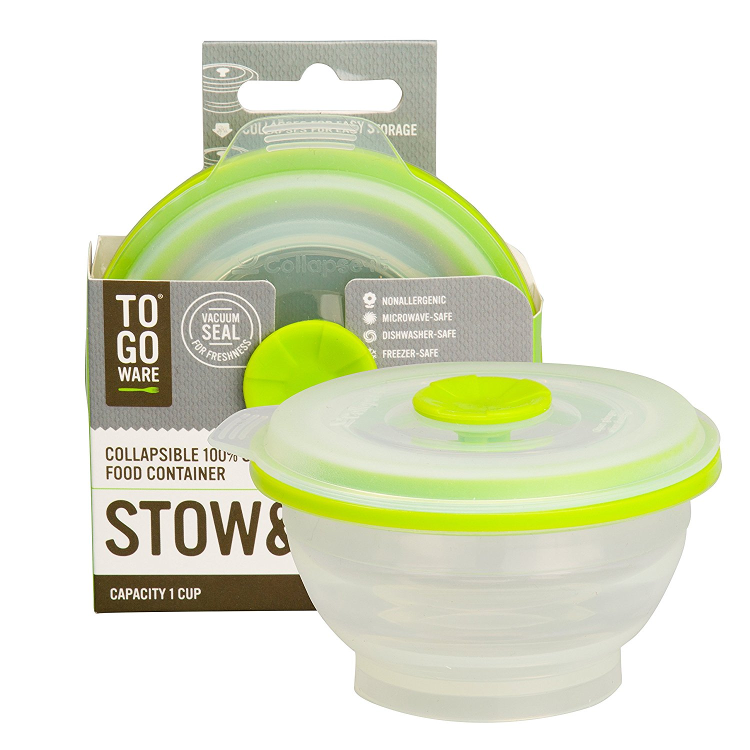 Collapsible Silicone Food Storage Container With Pull Out Vent And