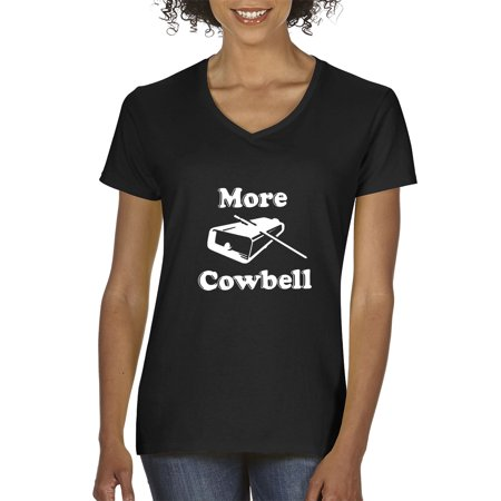 New Way 941 - Women's V-Neck T-Shirt More Cowbell Comedy Sketch SNL XS Black