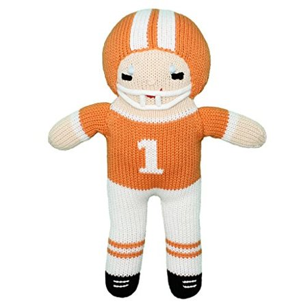 9' Plush Player - Zubels 100 Hand-Knit Football Player Plush Doll Toy in Orange and White, 12-Inch, All-Natural Fibers, Eco-Friendly