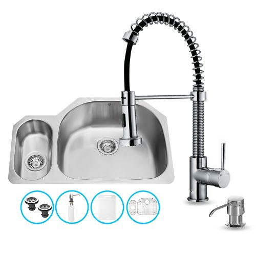 "Vigo All-in-One 32"" Undermount Stainless Steel Kitchen Sink and Chrome Faucet Set"