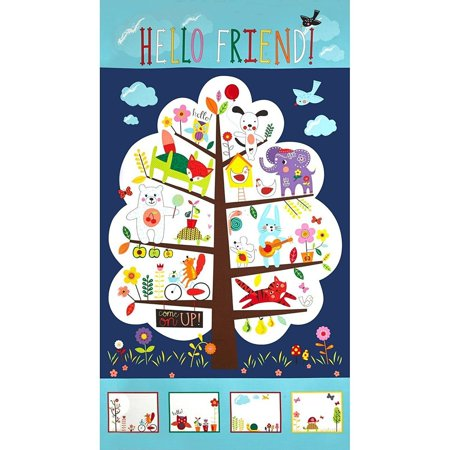 Clearance Sale~Moda Hello Friend 24 In. Treehouse Panel Grass Fabric By The - Hello Kitty Halloween Fabric Yard