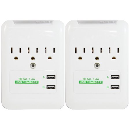 RND Wall Power Station includes 3 AC Plugs and 2 USB ports (3.4A total) with Surge protection for iPhone, iPad, Samsung Galaxy, LG, HTC, Moto and all USB Compatible Devices (2-Pack)