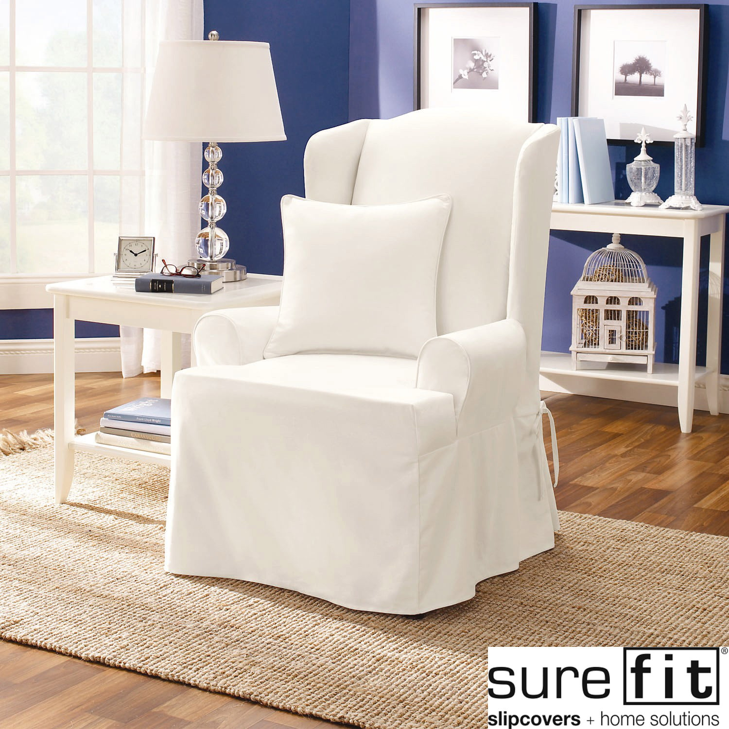 Superbe Sure Fit Twill Supreme Wing Chair Slipcover   Walmart.com