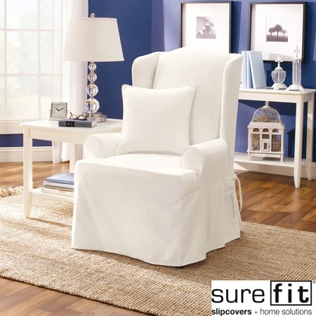 sure fit twill supreme wing chair slipcover - Wing Chair Slipcover