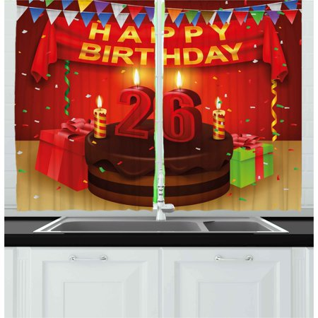 26th Birthday Curtains 2 Panels Set, Chocolate Cake with Candles and Ribbons Surprise Event Best Wishes Image, Window Drapes for Living Room Bedroom, 55W X 39L Inches, Multicolor, by