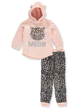 Real Love Girls' Leopard Meow 2-Piece Pants Set Outfit