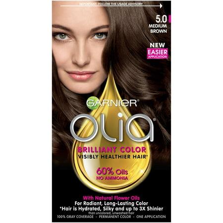 Garnier Olia Oil Powered Permanent Hair Color, 5.0 Medium Brown  Walmart.com