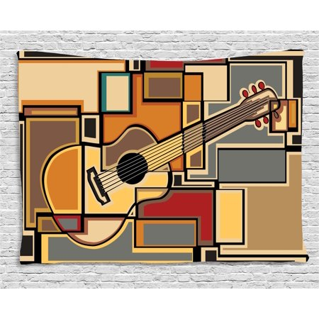 Music Decor Tapestry, Funky Fractal Geometric Square Shaped Background with Acoustic Guitar Figure Art, Wall Hanging for Bedroom Living Room Dorm Decor, 60W X 40L Inches, Multi, by (Square Wall Hanging)