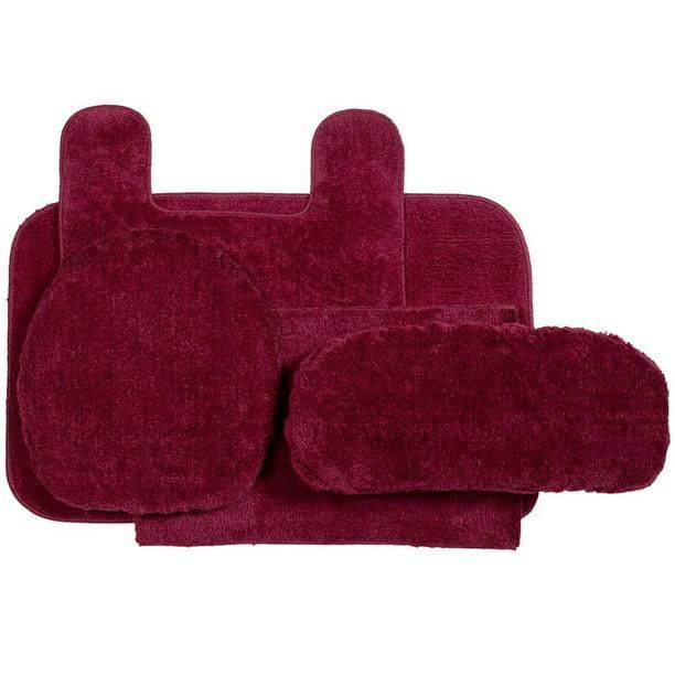 Bathroom Rug Set 5 Piece Nonslip With Contour Mat And Toilet Tank And Lid Covers Burgundy Walmart Com Walmart Com