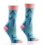 Yo Sox Pink Yoga Funky Women's Crew Socks for Dress or Casual Wear Size 5-10