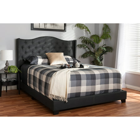Baxton Studio Alesha Modern and Contemporary Charcoal Grey Fabric Upholstered Queen Size Bed ()