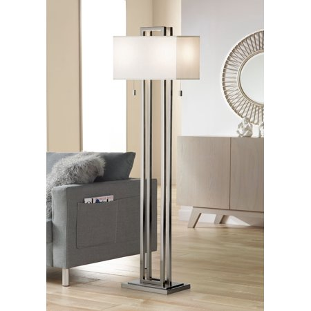 Possini Euro Design Modern Floor Lamp Brushed Nickel Openwork Rectangular  Profile Off White Fabric Shade for Living Room Reading