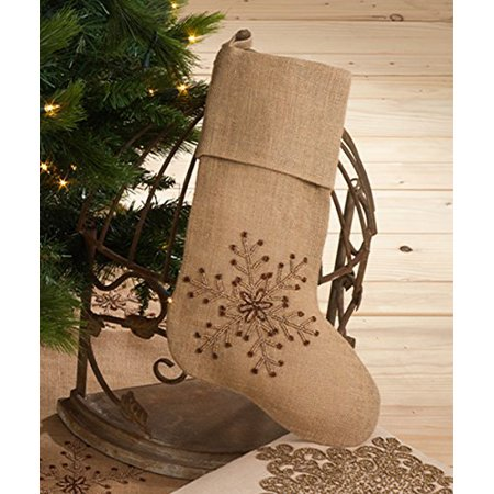 Jeweled Snowflake Burlap Design Holiday Natural Chirstmas Stocking, One Piece