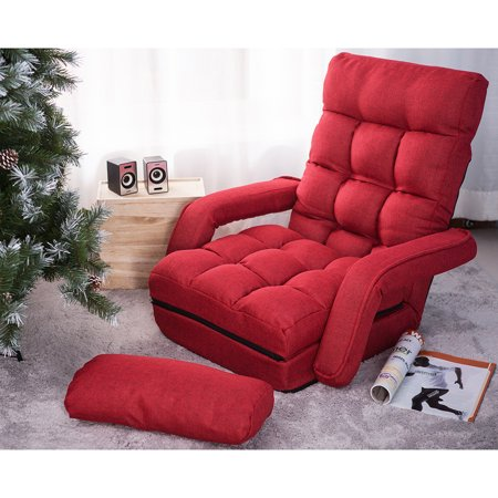 Hommoo Single Recliner Chair, Red Adjustable 5-Position Folding Lazy Floor Sofa Chair for Living Room Home Office, Sofa Lounger Bed with Armrests and a Pillow ()