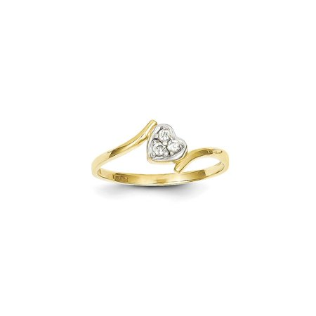 Solid 10k Yellow and White Gold Two Tone CZ Cubic Zirconia Heart Ring (1mm) - Size 4