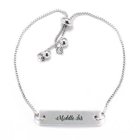 Middle Sis Script Silver Bar Adjustable (Script Name Bracelet)