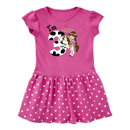 I'm Three-cowgirl riding horse birthday Toddler Dress (Cowgirl Western Dresses)