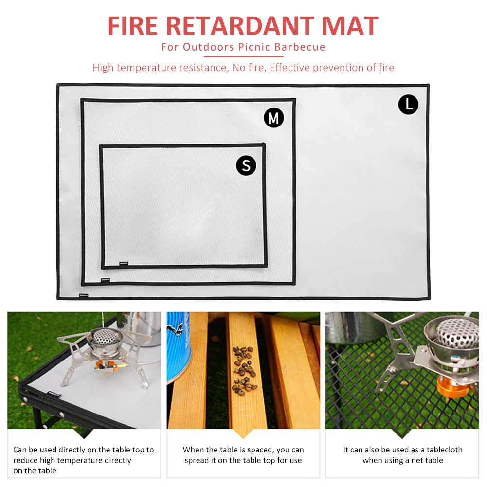 Camping Fireproof Grill Mat Cloth Flame Retardant Ember Blanket Mat For Out O7Y7