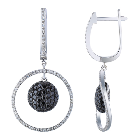 14K White Gold 1.4ct Mirror Ball Pave White and Black Diamond Dangle Earrings