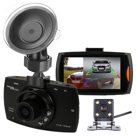 Podofo Dual Cameras Car DVR G30 Dash Cam 1080P FHD Video Recorder with Backup Rear View Camera Night Vision Camcorder BlackBox DVRs - Walmart.com