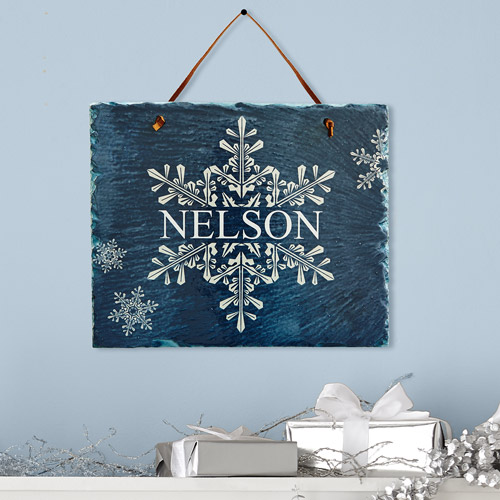 Personalized Winter Wonders Snowflake Slate