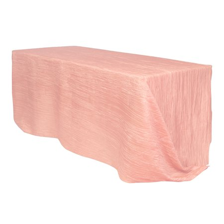 Your Chair Covers - 90 x 132 inch Rectangular Crinkle Taffeta Tablecloth Blush for Wedding, Party, Birthday, Patio, - Coral And Teal Wedding