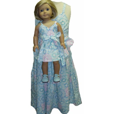 Pink and Blue Matching Sundresses for Girl and Dolls Size 6