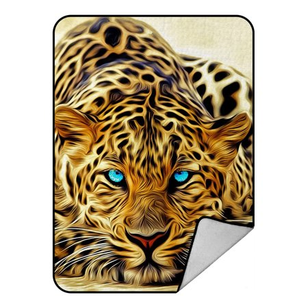 GCKG Special Effect Leopard With Authentical Blue Eyes Wild Animal Print Fleece Blanket Crystal Velvet Front and Lambswool Sherpa Fleece Back Throw Blanket 58x80inches