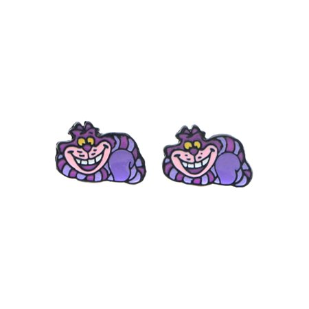 Alice in Wonderland Cheshire Cat Enamel Post Stud Earrings ()