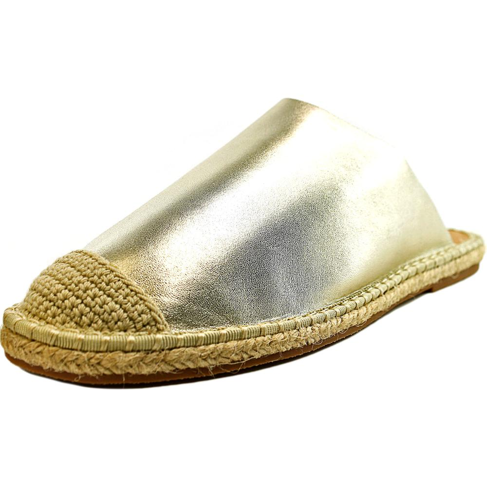 LFL Knack Women  Open Toe Leather Gold Slides Sandal