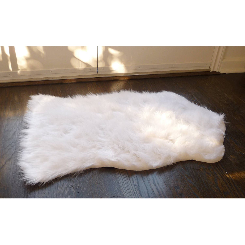 home dynamix faux sheepskin fur rug, white - walmart