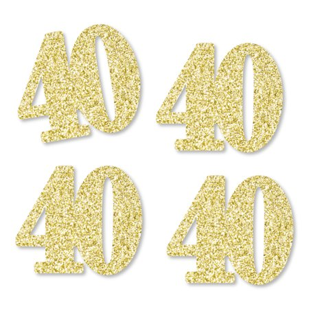Gold Glitter 40 - No-Mess Real Gold Glitter Cut-Out Numbers - 40th Birthday Party Confetti - Set of 25