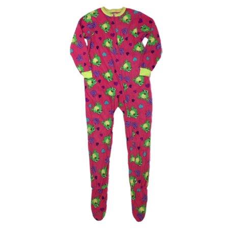 - Girls Plush Pink Frog Hearts Blanket Sleeper Footed Pajamas